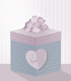 一个甜例证为与现实礼物盒的情人节, 免版税库存图片