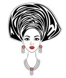 一个甜夫人的头的剪影 一件明亮的披肩和头巾在一个非裔美国人的女孩的头被栓 妇女是 库存例证