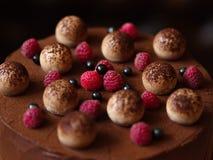一个甜巧克力蛋糕的表面的特写镜头,装饰用莓和黑醋栗在被弄脏的背景 免版税库存照片