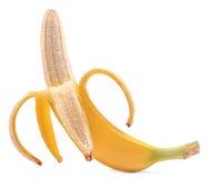一个甜,鲜美,水多的开放明亮的黄色香蕉,隔绝在白色背景 新鲜和有机香蕉 健康维生素 库存图片