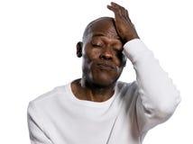一个生气的人的特写镜头有眼睛的关闭了 免版税图库摄影