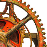 一个生锈的古老教会时钟机制的细节 免版税库存照片