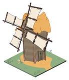 一个电子游戏对象:一台老风车 皇族释放例证