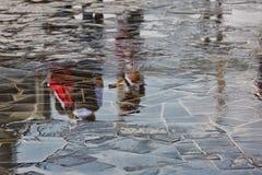 一个男孩的抽象反射水坑的 免版税库存图片