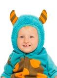 一个男孩的接近的画象妖怪服装的 免版税库存照片