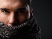 一个男性时装模特儿的画象与灰色羊毛围巾的 库存照片