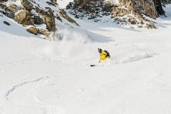 一个男性滑雪者讨便宜者与胡子高速下降backcountry倾斜 免版税库存图片