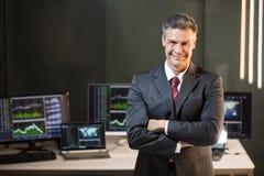 一个男性股市经纪的画象 免版税库存图片
