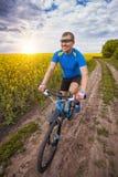 一个男性骑自行车者在一个美丽如画的黄色油菜籽领域乘坐 图库摄影