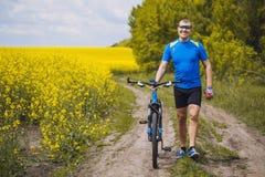 一个男性骑自行车者在一个美丽如画的黄色油菜籽领域乘坐 免版税库存图片