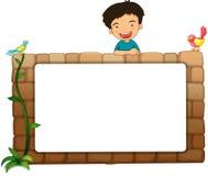 一个白板、男孩和鸟 库存照片