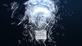 一个白炽灯或ligh电灯泡的爆炸 分开玻璃飞行小片断用不同的方向 作用  皇族释放例证