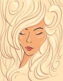 一个白肤金发的女孩的美丽的面孔厚实的波浪发的 库存图片