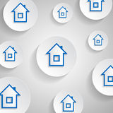 一个白色按钮的蓝色小屋 库存照片