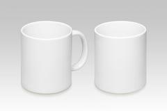 一个白色杯子的两个位置 库存照片