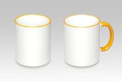 一个白色杯子的两个位置 免版税库存图片