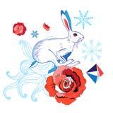 一个白色野兔的明亮的例证 库存图片