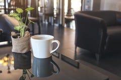 一个白色陶瓷咖啡杯热的咖啡和一个小树罐在桌上在咖啡馆 免版税库存照片