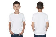 一个白色T恤杉前面和后面视图的少年男孩 免版税库存照片