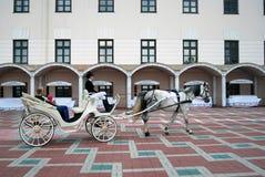 一个白马在喀山克里姆林宫搭载游人 图库摄影