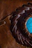 一个皮包或钱包的宏观片段 手工制造,纹理背景 库存照片