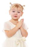 一个相当小女孩的特写镜头有猪尾的 免版税库存照片