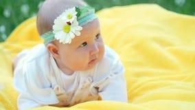 一个相当小女孩,婴孩,在黄色格子花呢披肩说谎,在草 在她的头上是有春黄菊的绷带 股票录像