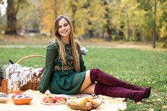 一个相当少妇的画象有野餐在公园 库存图片