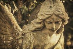 一个石古色古香的天使的面孔 免版税库存照片