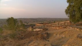一个石堡垒的废墟 影视素材