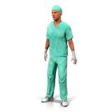 一个确信的成熟Isolated On White 3D医生例证的画象 库存图片