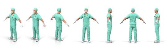 一个确信的成熟On White 3D医生例证的画象 皇族释放例证