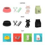 一个碗用食物,猫的,一只病的猫,饲料包裹理发  在集合在动画片的汇集象,黑色,平 皇族释放例证