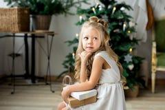 一个礼物小的逗人喜爱的女孩梦想  做愿望的女孩 快活的圣诞节节日快乐 库存照片