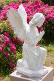 一个祈祷的天使的雕象在被弄脏的花背景的  库存图片