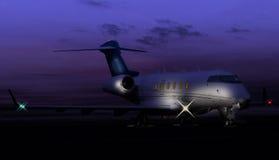 一个私人喷气式飞机的夜的射击 图库摄影