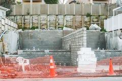 一个私有房子的建筑的基础,修造在新西兰 库存照片