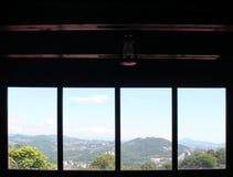 从一个私有木房子的窗口的看法在索契 图库摄影