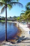 一个私有海滩的看法在一种中央佛罗里达手段的 免版税库存照片