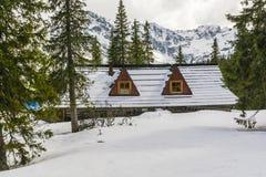 一个积雪的房子在山的一个森林里 免版税库存照片