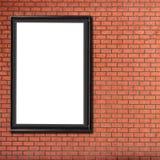 一个空白的广告牌附加大厦砖墙 库存图片