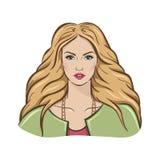 一个空白背景的金发碧眼的女人 免版税库存图片