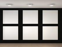 一个空的博物馆的例证有6个空的框架的 库存照片