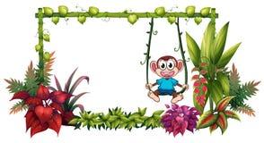 一个空的框架由与猴子的竹子制成 向量例证