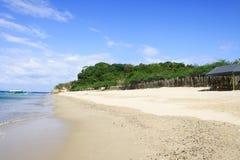 一个空的海滩的美丽的景色与绿色的在背景中 免版税图库摄影