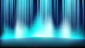 一个空的蓝色场面有电路板的背景,阐明由聚光灯 免版税库存照片