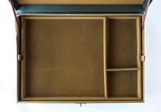一个空的绿色老箱子的顶视图有布朗织品空间的用于布局 库存图片