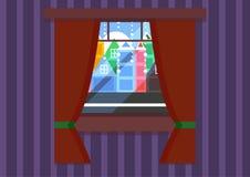 一个窗口有城市视图 向量例证