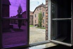 从一个窗口的看法在奥斯威辛阵营II,灭绝阵营在波兰 免版税库存照片