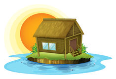 一个竹房子在海岛 向量例证